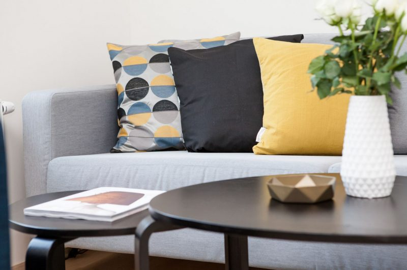 Geometric Pillow Set on Mid Century Modern Couch